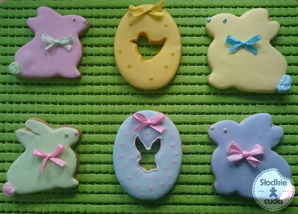 Wielkanoc - ozdobne ciasteczka wielkanocne jako ozdoba do koszyczka lub na stół