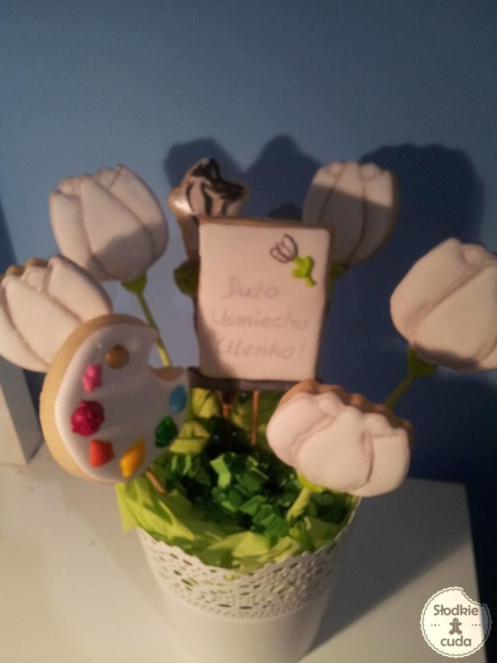 Prezent z okazji imienin, urodzin - bukiet z ciasteczek-kwiatków lub serce z dedykacją :)